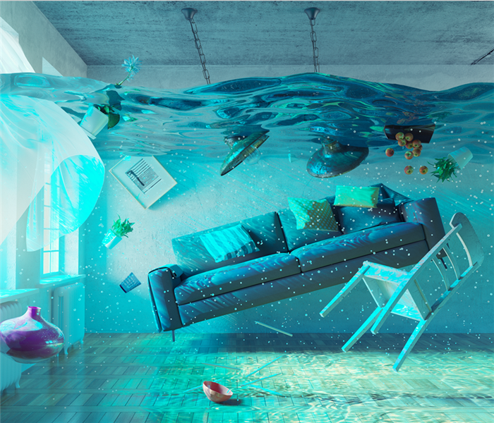 An underwater view in the flooding interior