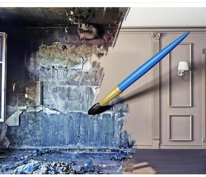 Painting depicting the removal of mold in a home